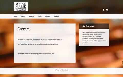 Screenshot of Jobs Page wynemalikconsultants.com - Wyne Malik Consultants   Careers - captured Dec. 8, 2016