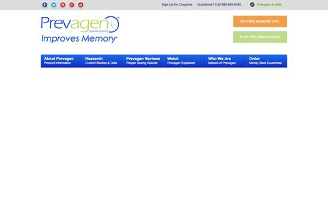 Screenshot of Home Page prevagen.com - Prevagen : A unique and safe brain health supplement for memory - captured Sept. 22, 2014