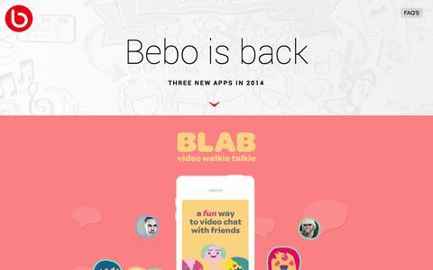 Screenshot of Home Page bebo.com - Bebo - captured Sept. 13, 2014