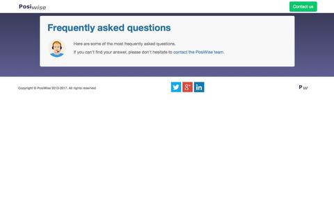 Screenshot of FAQ Page posiwise.com - PosiWise | Frequently Asked Questions - captured May 19, 2017