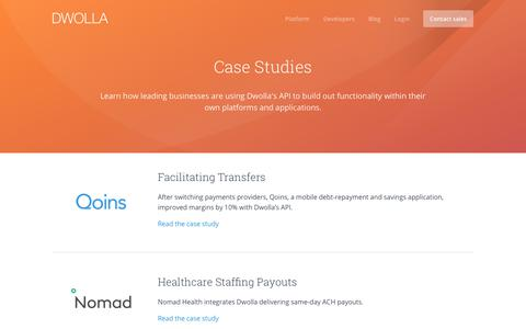 Screenshot of Case Studies Page dwolla.com - Dwolla Case Studies - captured Dec. 30, 2017