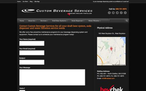 Screenshot of Contact Page mabeer.com - Contact Custom Beverage Services - Call (508) 721-0875 Now - captured Oct. 3, 2014