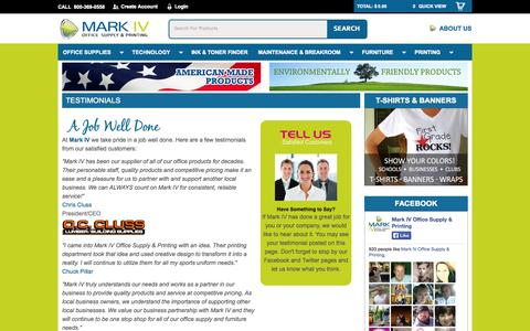 Screenshot of Testimonials Page mark4os.com - Mark IV Office Supply and Printing - captured Oct. 27, 2014
