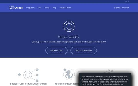 Screenshot of Developers Page unbabel.com - Unbabel translation API for developers - captured June 22, 2018