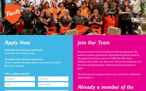 Screenshot of Jobs Page eatpuesto.com - Careers  |  Puesto - captured March 8, 2016
