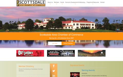 Screenshot of Home Page Menu Page scottsdalechamber.com - | Scottsdale Chamber - captured Oct. 3, 2014