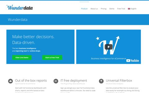 Screenshot of Home Page wunderdata.com - Wunderdata - Business Intelligence for eCommerce - captured July 13, 2018