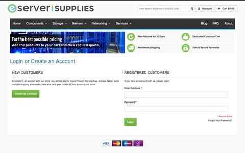 Screenshot of Login Page eserversupplies.com - Customer Login   eServer Supplies - captured Nov. 2, 2014