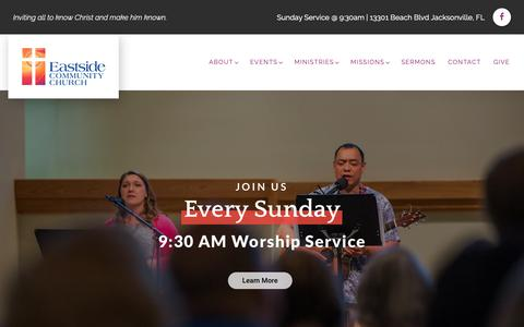 Screenshot of Home Page eastsidecommunity.org - Eastside Community Church | Home - captured Sept. 26, 2018