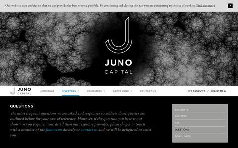 Screenshot of FAQ Page junocapital.co.uk - Juno Capital LLP - Questions - captured Nov. 27, 2016