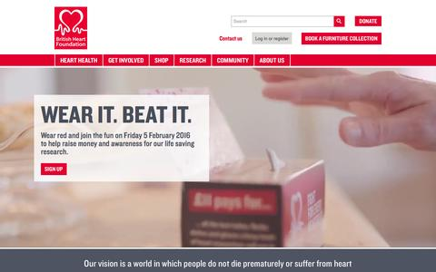 Screenshot of Home Page bhf.org.uk - We fight for every heartbeat - British Heart Foundation - captured Oct. 14, 2015