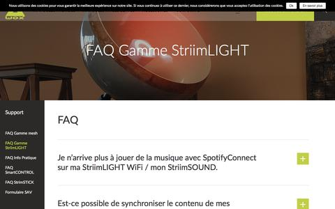 Screenshot of FAQ Page awox.com - FAQ Gamme StriimLIGHT - AwoX - captured July 13, 2018