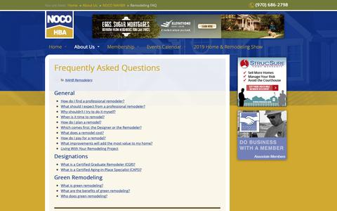 Screenshot of FAQ Page nocohba.com - Remodeling FAQ - NoCO HBA - captured Oct. 20, 2018
