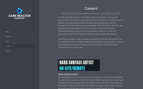 Screenshot of Jobs Page darkreactor.com - Careers - captured Aug. 5, 2018