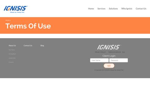 Screenshot of Terms Page ignisis.co - Terms Of Use | IGNISIS | Always Up, Always Fast - captured Oct. 1, 2014