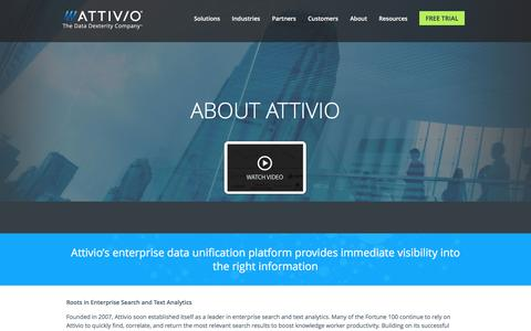 Screenshot of About Page attivio.com - Attivio - The Data Dexterity Company - captured Aug. 11, 2016