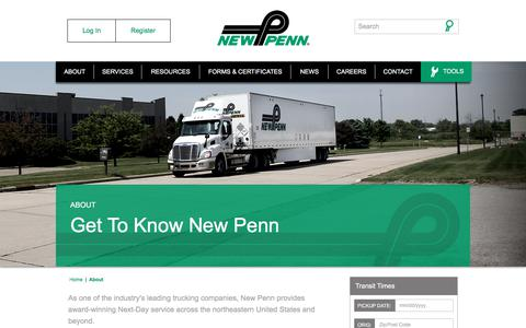 Screenshot of About Page newpenn.com - Industry's Leading Trucking Companies | LTL Freight | About New Penn - captured Oct. 21, 2017