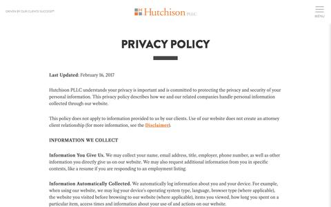 Screenshot of Privacy Page hutchlaw.com - Privacy Policy - Hutchison PLLC - captured Sept. 30, 2018