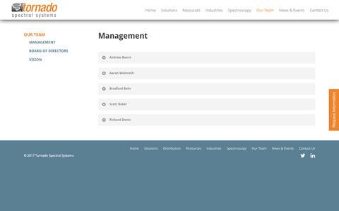 Screenshot of Team Page tornado-spectral.com - Management |  Tornado Spectral Systems - captured Oct. 8, 2017