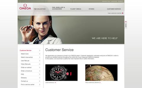 Screenshot of Support Page omegawatches.com - OMEGA Watches: Customer Service - captured Oct. 26, 2014