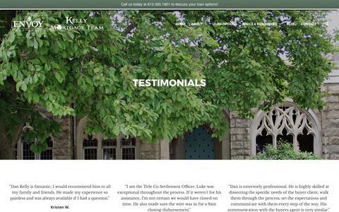 Screenshot of Testimonials Page kellymortgageteam.com - Testimonials | Kelly Mortgage Team - captured June 9, 2017