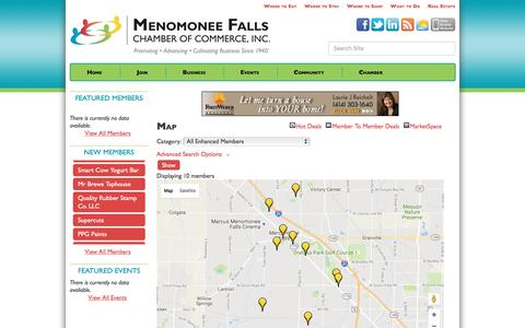 Screenshot of Maps & Directions Page fallschamber.com - Map - Menomonee Falls Chamber of Commerce, Inc., WI - captured Nov. 28, 2016