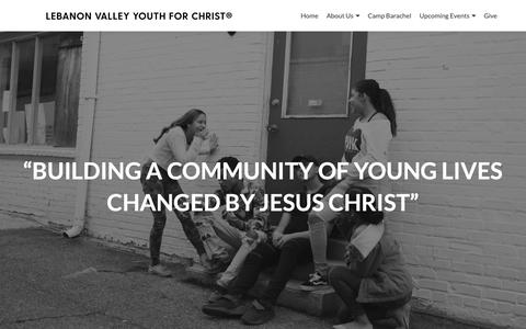 Screenshot of Home Page lvyfc.com - Lebanon Valley Youth For Christ – Building a community of young lives changed by Jesus. - captured Dec. 14, 2018