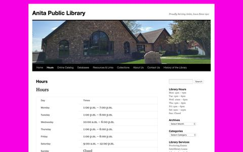 Screenshot of Hours Page anitalibrary.org - Hours | Anita Public Library - captured Nov. 1, 2018