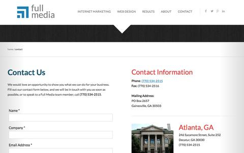 Screenshot of Contact Page fullmedia.com - Contact Us | Full Media - captured Oct. 30, 2014