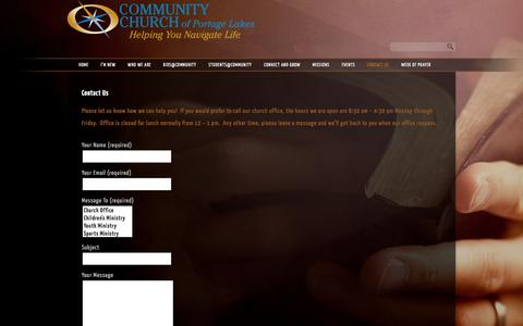 Screenshot of Contact Page ccofpl.org - Contact Us «  Community Church of Portage Lakes - captured Jan. 30, 2016