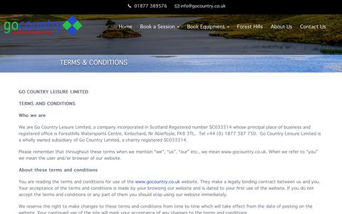 Screenshot of Terms Page gocountry.co.uk - Terms & Conditions - Go Country Adventure - captured July 20, 2018