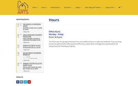 Screenshot of Hours Page hopartscenter.org - Hours - Hopkinton Center for the Arts - captured Nov. 12, 2016