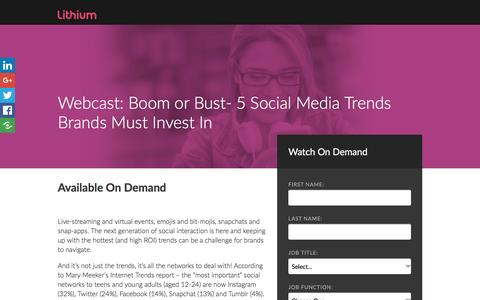 Screenshot of Landing Page lithium.com - Boom or Bust: 5 Social Media Trends Brands Must Invest In - captured April 11, 2017