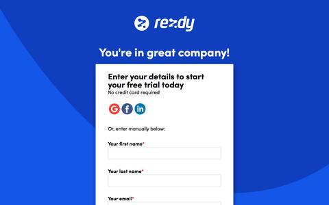 Screenshot of Signup Page rezdy.com - Registration - captured Sept. 11, 2019