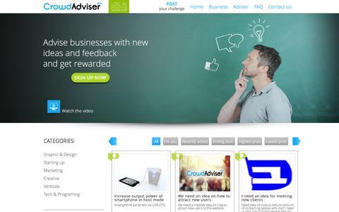 Screenshot of Home Page crowd-adviser.com - Welcome to Crowd-Adviser.com - captured Sept. 30, 2014