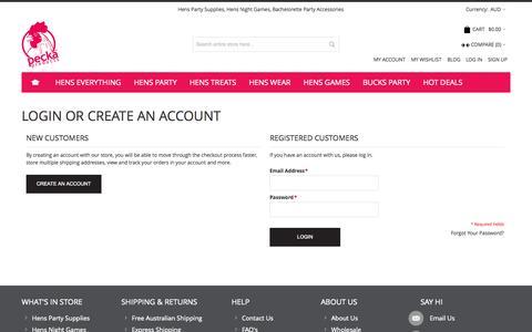 Screenshot of Login Page peckaproducts.com.au - Customer Login - captured Sept. 29, 2014