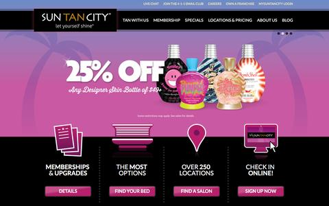 Screenshot of Home Page suntancity.com - Sun Tan City - Tanning Salons Near Work and Home - captured Oct. 28, 2015