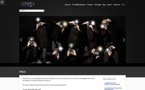 Screenshot of Press Page gennex.info - Gennex —  Press - captured Jan. 26, 2016