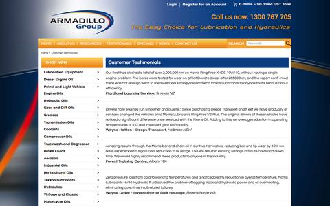 Screenshot of Testimonials Page armadillogroup.com.au - Customer Testimonials - captured Dec. 26, 2015
