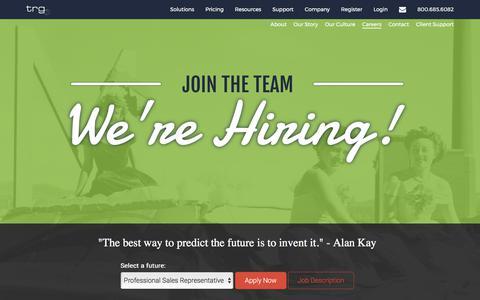 Screenshot of Jobs Page traderiskguaranty.com - Join the Team   Jobs in Bozeman, Montana   Trade Risk Guaranty - captured Oct. 24, 2017