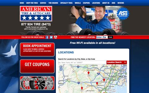 Screenshot of Contact Page Locations Page americantires.net - Central NJ Tires & Auto Repair Locations :: American Tire & Auto Care - captured Oct. 23, 2014