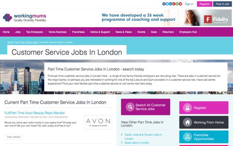 Screenshot of Support Page workingmums.co.uk - Part Time Customer Service Jobs In London | Workingmums.co.uk - captured Oct. 30, 2017