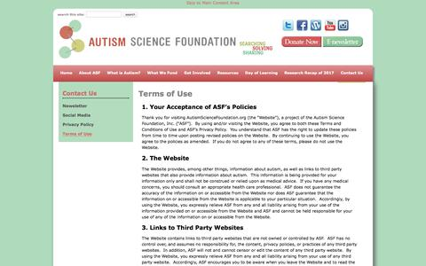 Screenshot of Terms Page autismsciencefoundation.org - Terms of Use - Autism Science Foundation - captured July 31, 2018