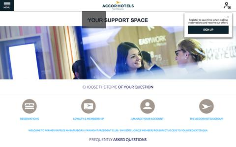 Screenshot of FAQ Page accorhotels.com - YOUR __SUPPORT__ SPACE - captured July 16, 2019