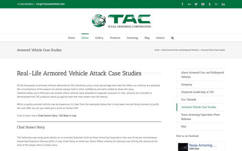 Screenshot of Case Studies Page texasarmoring.com - Armored Vehicle Case Studies - Bulletproof Car Attacks - captured Oct. 4, 2018