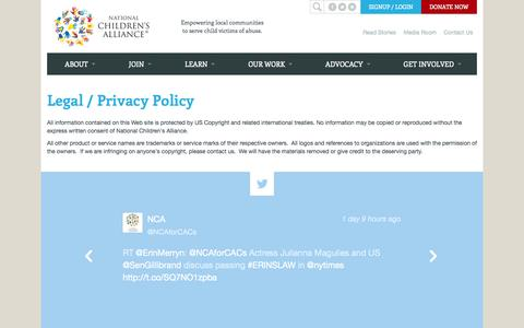 Screenshot of Privacy Page nationalchildrensalliance.org - Legal / Privacy Policy | National Children's Alliance - captured Oct. 27, 2014
