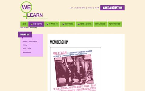 Screenshot of Signup Page welearnwomen.org - Membership - captured Oct. 27, 2014
