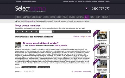 Screenshot of Blog selectissimo.ch - Derniers articles des membres Selectissimo - Partage d'expériences dans le domaine de la cession en fonds de commerce et d'entreprises - captured Sept. 26, 2014