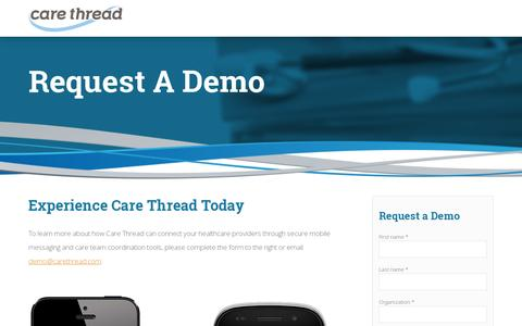 Screenshot of Contact Page carethread.com - Request a Demo - HIPAA-compliant mHealth Platform | Care Thread - captured July 19, 2014