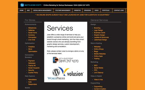 Screenshot of Services Page gotojose.com - Services - gotoJose - captured Oct. 6, 2014